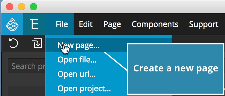 Screenshot of creating a new page in Pinegrow