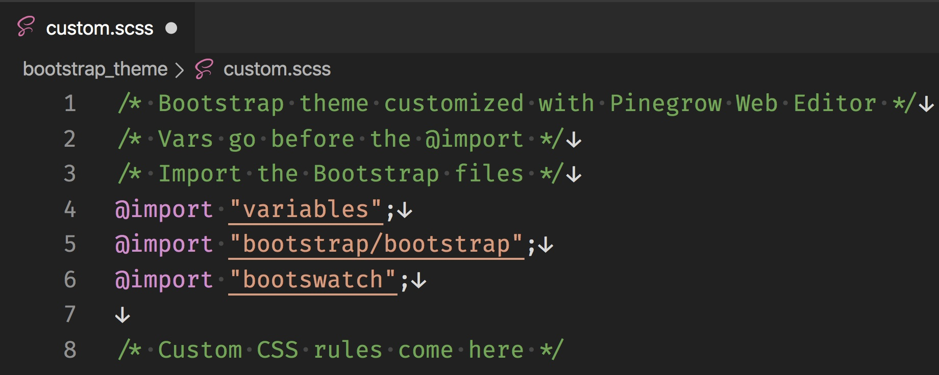 Screenshot of the code for importing the new theme stylesheets