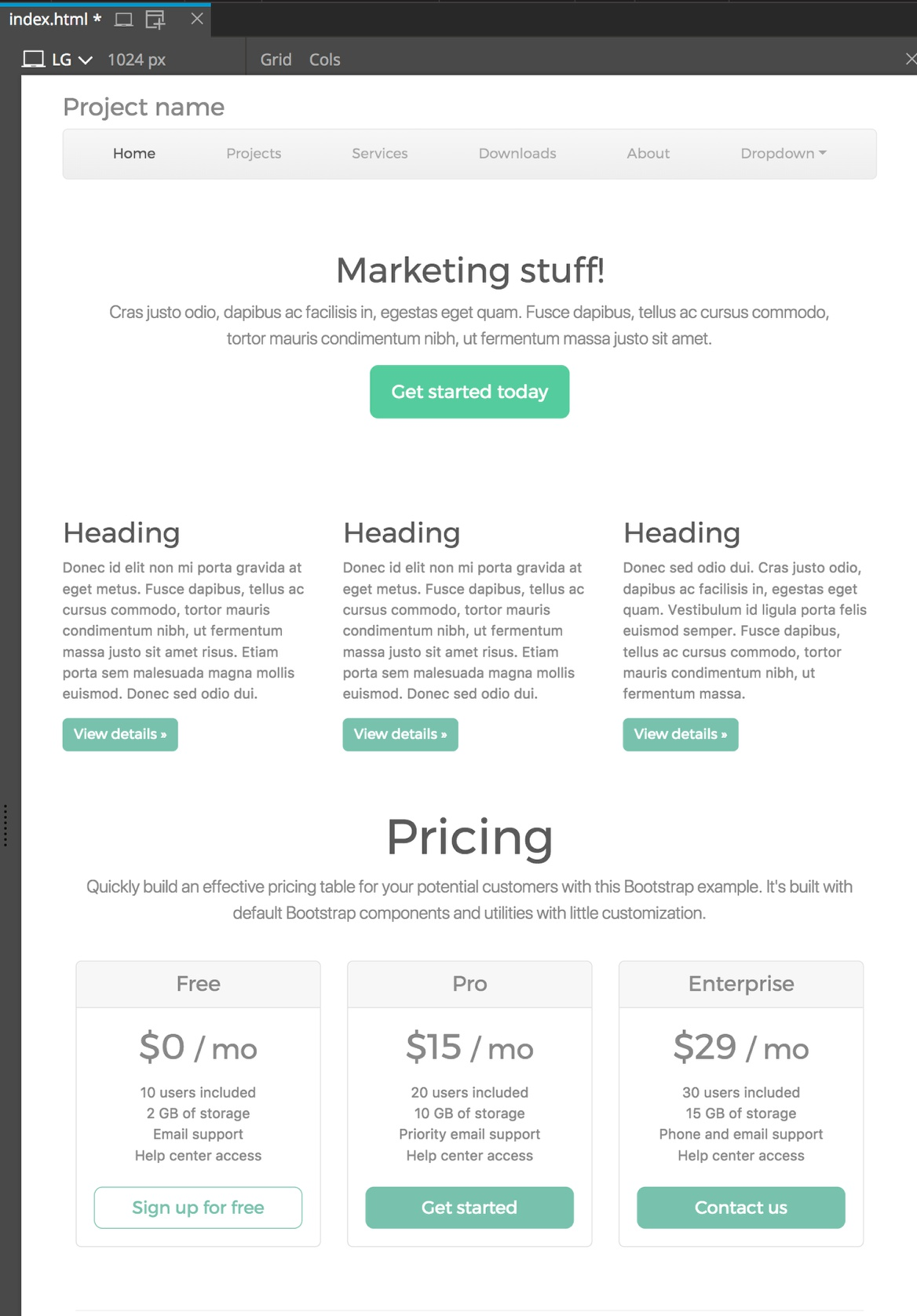 Screenshot of the Pinegrow Bootstrap 4 page with Minty styling