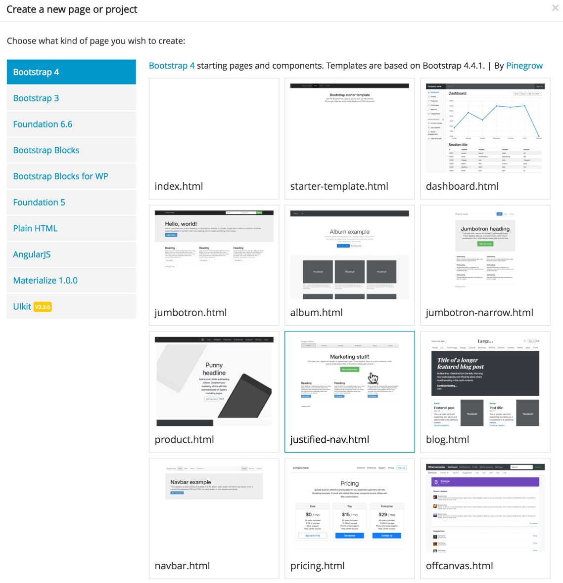 Screenshot of the Pinegrow Bootstrap 4 template selection