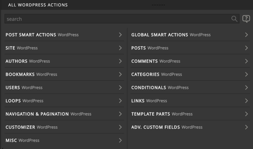 More than 200 WordPress actions.