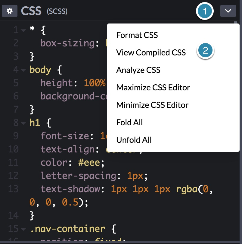 Screenshot of the CSS compiler settings on the CodePen example.