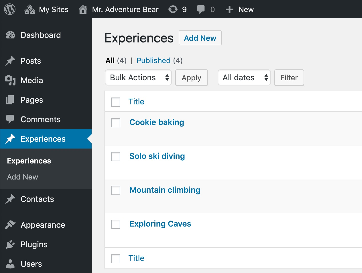 "Custom post type ""Experience"" in WordPress dashboard."