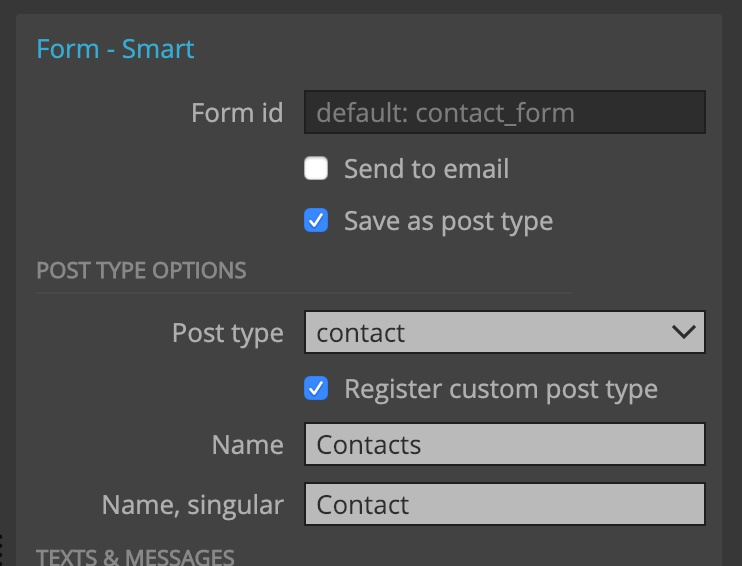 Saving form submissions as private custom post type.