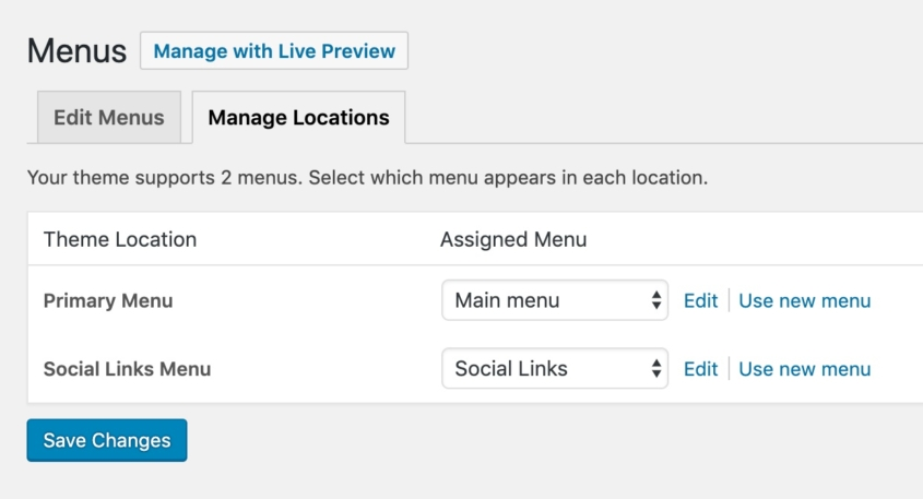 Editing menu locations in WordPress dashboard.