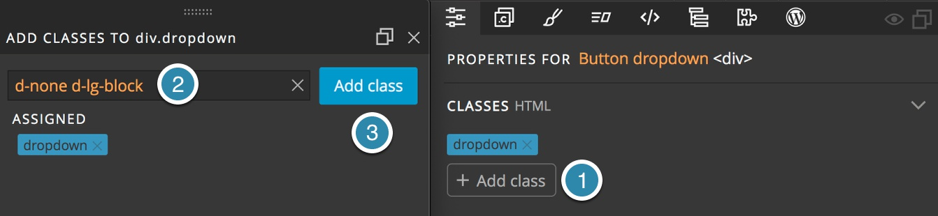 Adding classes in the Pinegrow Properties panel