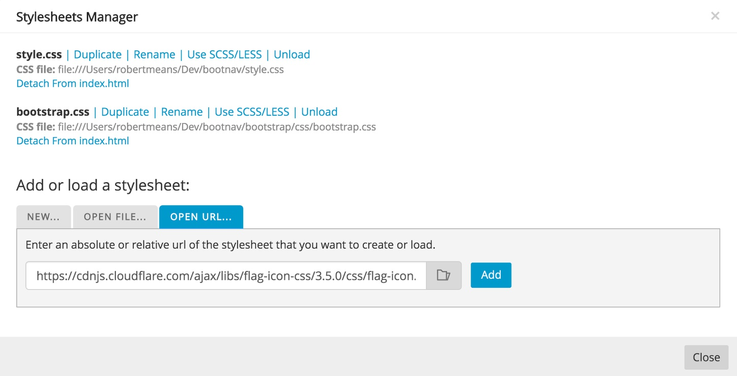 Add the CDN link in the Pinegrow stylesheet manager