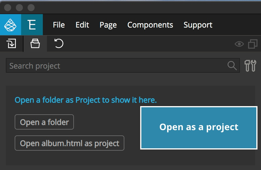 Screenshot of the project tab and open as project button.