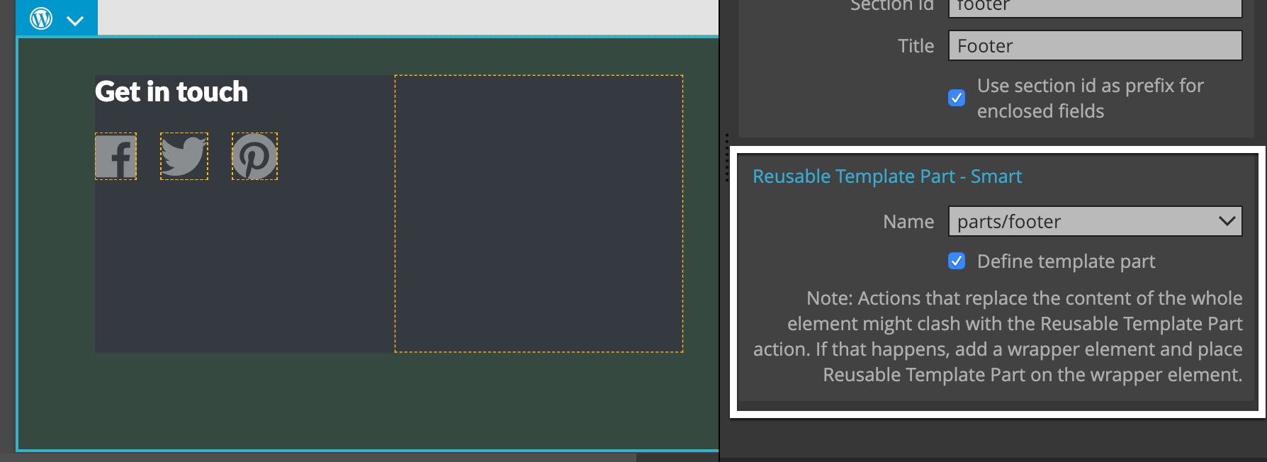Defining a template part for the footer.