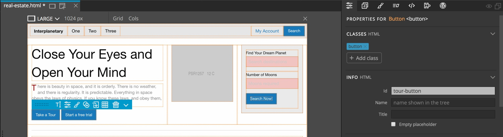 Screenshot of the Pinegrow Properties panel and Id box