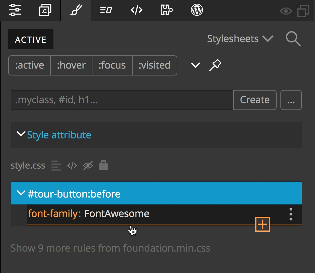 Screenshot of adding a new rule after the Font Awesome family in the Pinegrow Styles panel