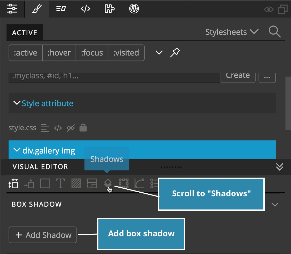 "Screenshot showing the location of the ""Shadows"" icon in the Visual Editor"
