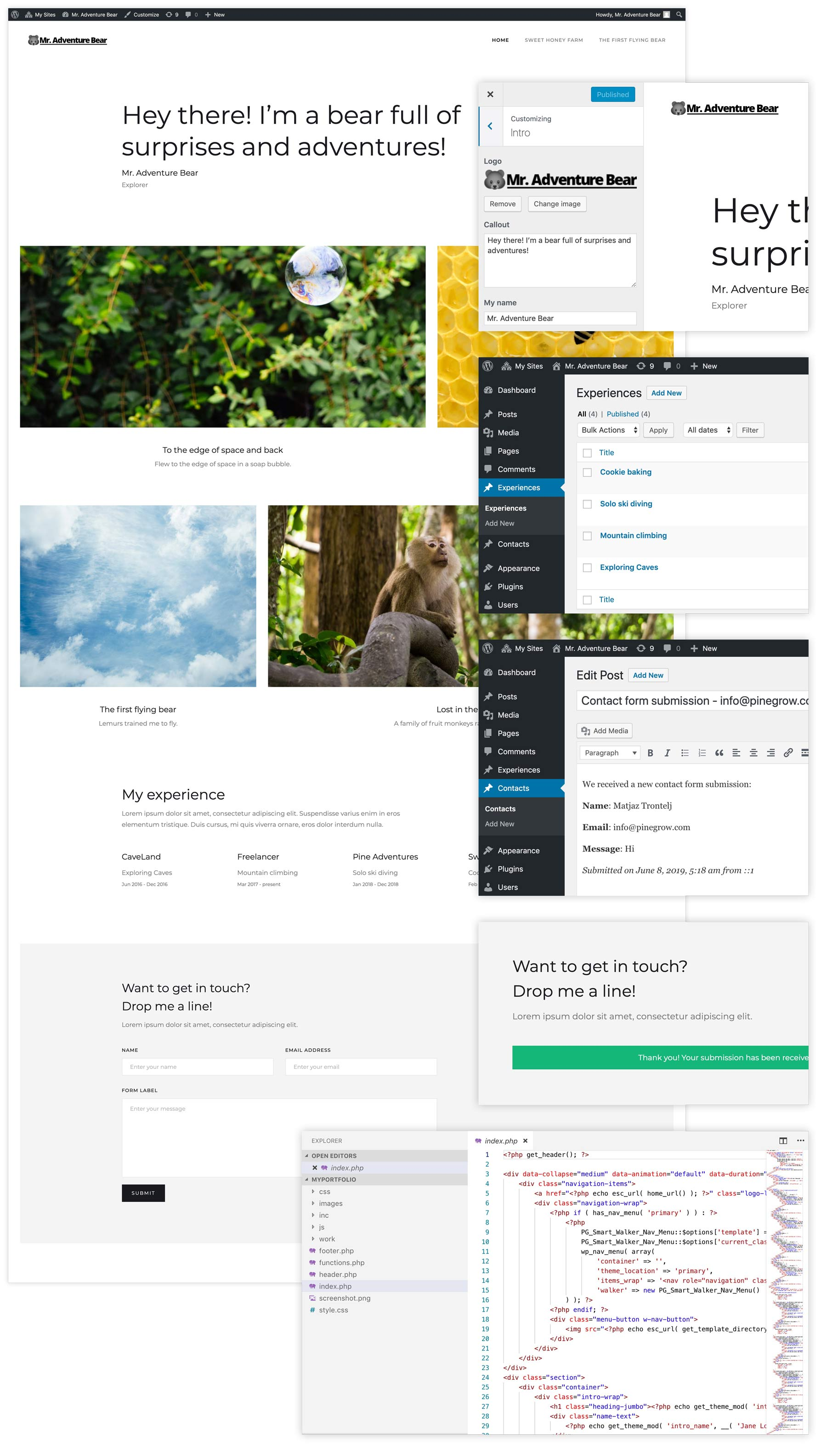 A converted WordPress site with dynamic areas, post collections, menus and functioning forms.