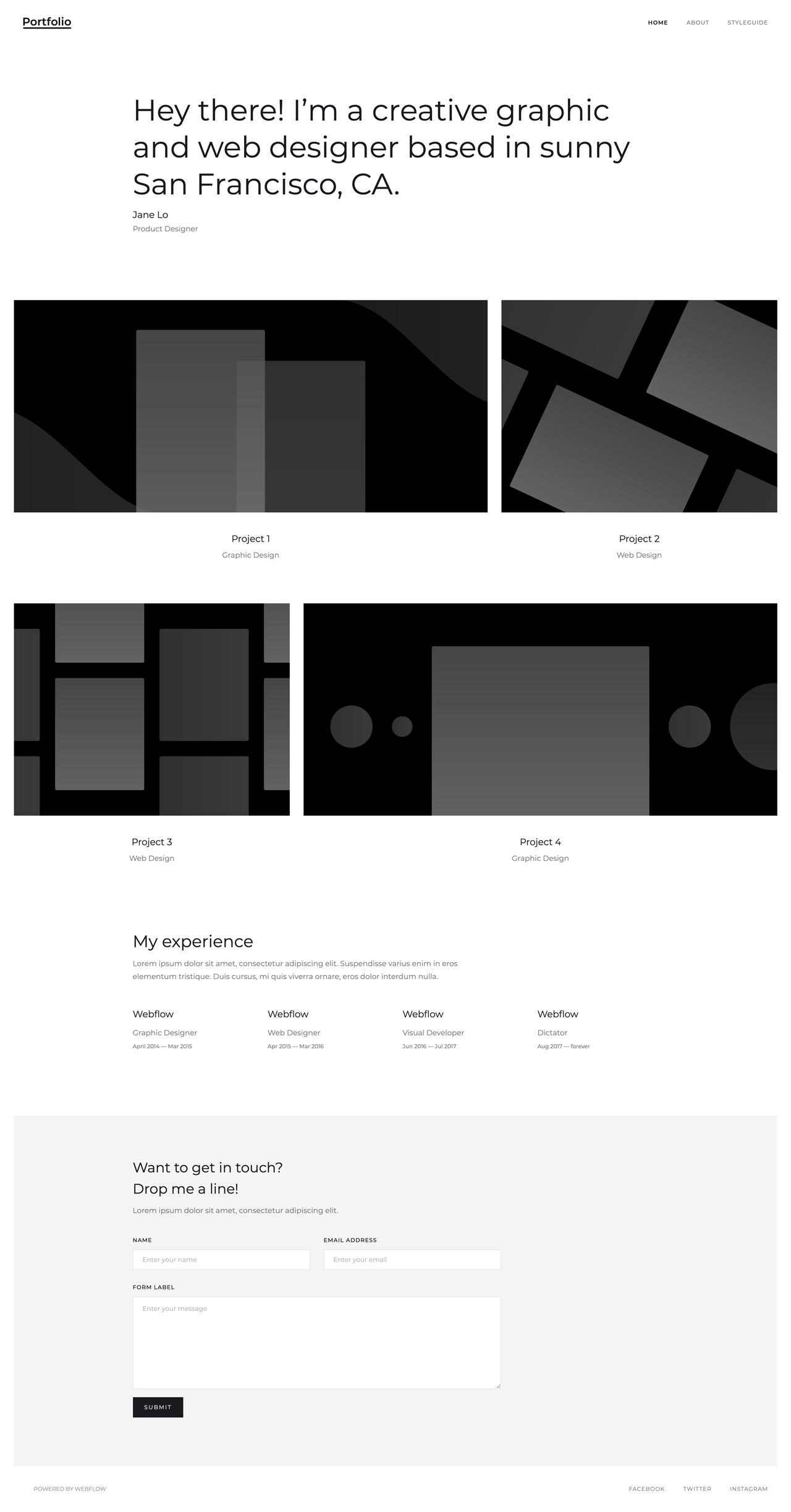 A static HTML portfolio page. All information is hard-coded on the page.