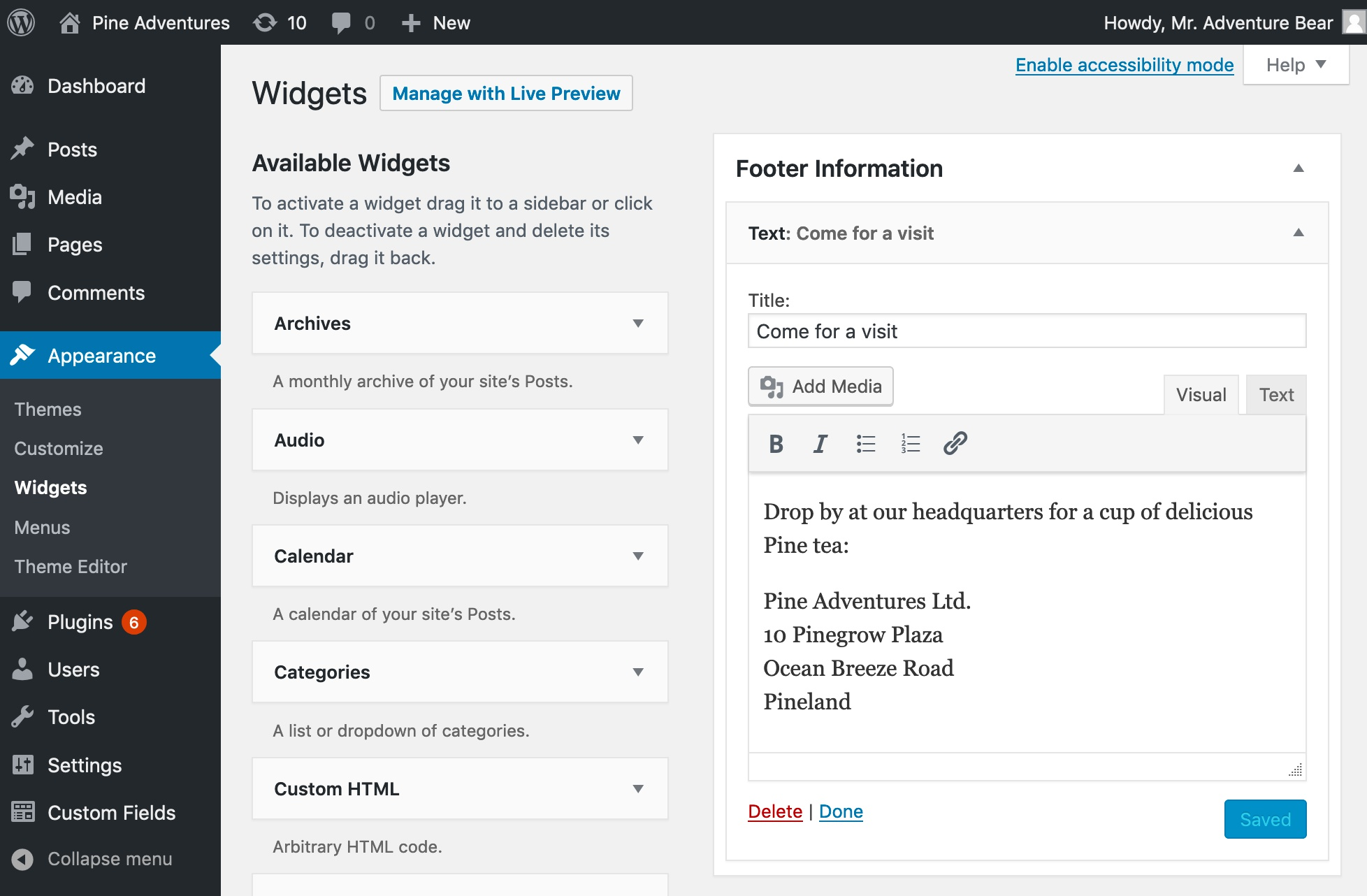 Editing the sidebar area in WordPress dashboard.