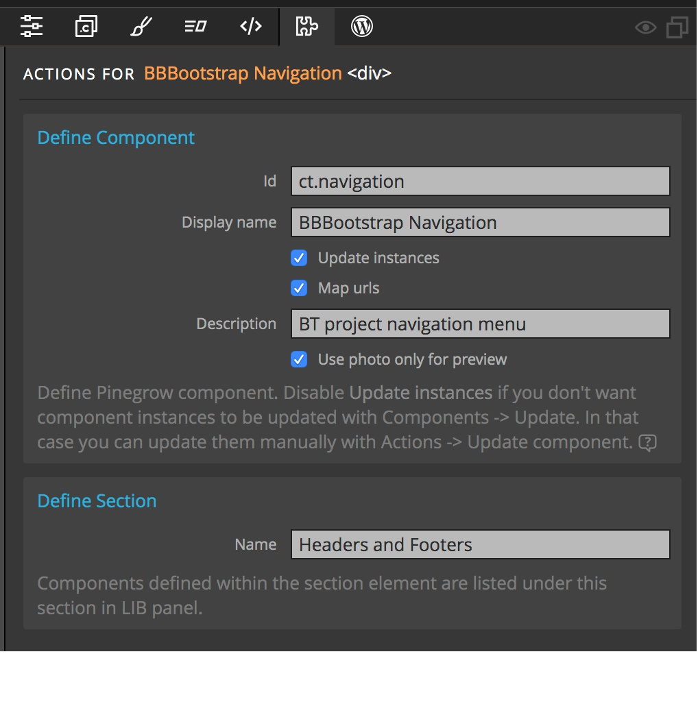 Screenshot of the Pinegrow Define Section settings