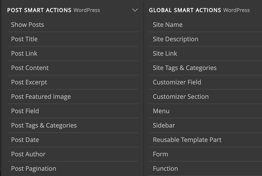Two groups of smart WordPress actions.